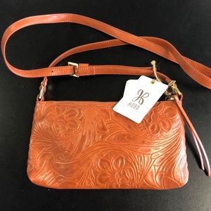 Hobo leather crossbody new with tags hand tooled